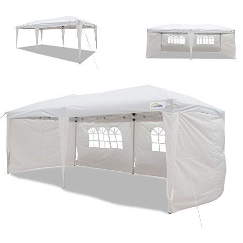 Goutime 10x20 Ft Ez Pop Up Canopy Tent with 4Pcs 10Ft Removable Sidewalls and Wheeled Bag for...