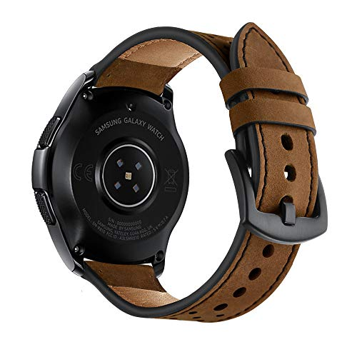 OXWALLEN 22mm Watch Band, 20mm Watch Band, Leather Watch Band Quick Release Soft Strap fit for Samsung Watch 46mm,42mm, Galaxy Active, Gear S3 and Traditional Watch - Red Brown