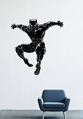 T'challa Costume (Wall Decals Decor Viny Black Panther Marvel Comics Superhero T'Challa Power Shoes Costume Mask Superpower Claws Africa Nubyyskyy Carbon Tiger Prince Charles, Mr. Luc Okonkvo Male Boy Ornament LM0692)