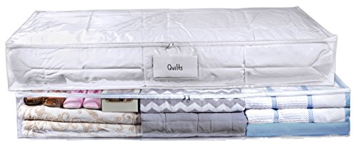 Clear Under Bed Storage Bag - 2 Pack - Durable Vinyl Material to Shield Your Contents from Dust, Dirt and Moisture. Easy Gliding Zipper for Easy Access and Label Pocket for Easy Identification.