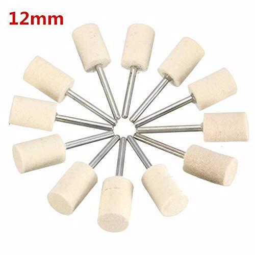 12pcs 3mm Shank Wool Polishing Head Buffing Wheel 3mm/6mm/8mm/12mm For Dremel Rotary Tool