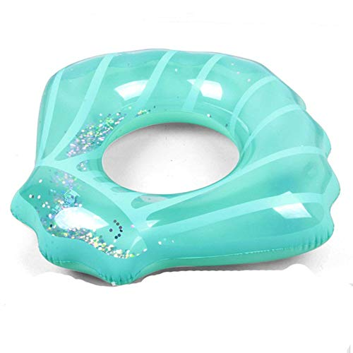 (HANMUN Pool Floats Swimming Ring Shell 2019 with Glitters Inside Inflatable Pool Float Adult Children Swim Ring Summer Party Water Toys (Blue))