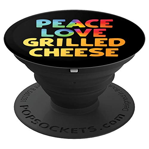 Funny Peace Love Grilled Cheese Groovy 70s - PopSockets Grip and Stand for Phones and Tablets