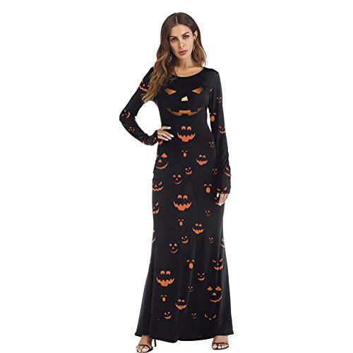 SHANGXIAN Women Pumpkin Print Dress, Halloween Funny Trick Party Evening Dresses Casual Long Sleeve Costume,L/XL