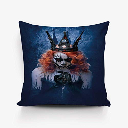 YOLIYANA Queen Soft Throw Pillow Cover,Queen of Death Scary Body Art Halloween Evil Face Bizarre Make Up Zombie for Home Office,26
