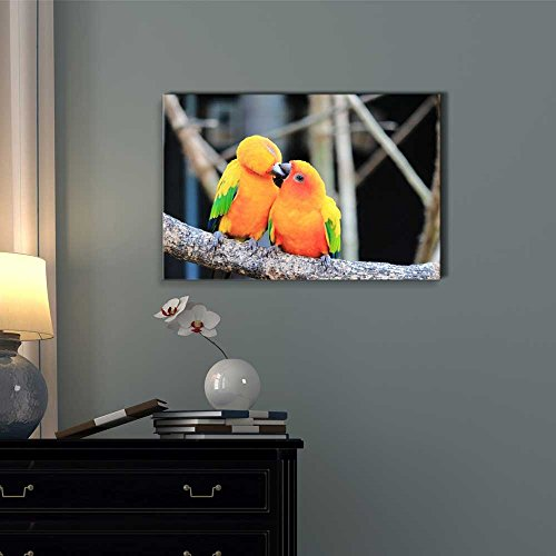 Colorful Parrot Bird Kissing on The Perch Romantic Concept Wall Decor