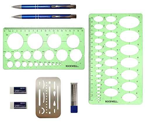 Rockwell Galleries Circle Template Oval Template and Erasing Shield Set Comes with Pen and Mechanical Pencil for Drawing and Drafting