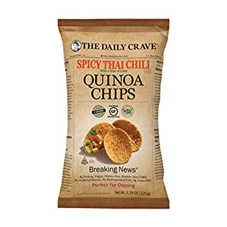 The Daily Crave Spicy Thai Chili W/A Hint Of Lime Quinoa Chips, 4.25 Oz (Pack Of 8) 4g Protein, 2g Fiber, Gluten-Free, Non-GMO, Crunchy