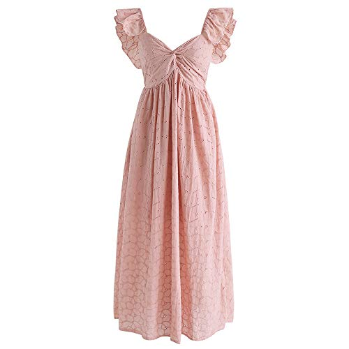 Chicwish Women's Pink V Neck Floral Embroidered Eyelet Ruffle Sleeves Maxi Dress