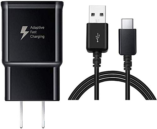TT&C Adaptive Fast Wall Charger kit with USB Type-C Cable Compatible with Samsung Galaxy S8/S8 Plus/ S9/ S9+/ S10/ S10 Plus/Note 8/ Note 9 (Black) (Samsung Galaxy Note 8-0 Usb Port Replacement)