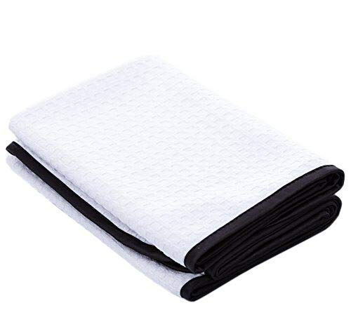 (THE RAG COMPANY (2-Pack) Dry Me A River Professional Korean 70/30 Microfiber Waffle-Weave Drying & Detailing Towels (20x40, White))