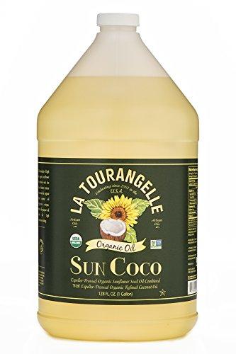 La Tourangelle Organic Sun Coco Oil 128 Fl. Oz., Neutral Flavor & High Smoke Point, Blend of Organic Sunflower Oil and Organic Coconut Oil