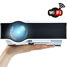 """WiFi Wireless Projector (Warranty Included), Support HD 1080P Video, ERISAN Updated Full Color Max 130"""" Pro Portable LCD LED Mini Projecteur For Home Theater Cinema Video Games - PDW046W"""