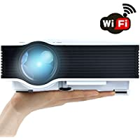 WiFi Wireless Projector (Warranty Included), Support HD 1080P Video, ERISAN Updated Full Color Max 130 Pro Portable LCD LED Mini Projector For Home Theater Cinema Video Games - PDW046W