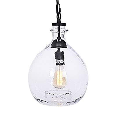 CASAMOTION Wavy Vintage Industrial Hand Blown Art Glass 1 Light Pendant Light