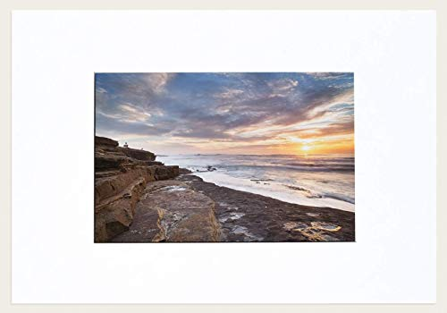 - Warm Setting Sun Ocean California Coastal Fine Art Photograph 8X12 in With 13X19 in Mat Ready To Frame
