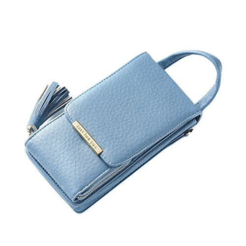 Small Tassel Leather Cell Phone Crossbody Purse Bag With Credit Card Holder For Girls Women ()