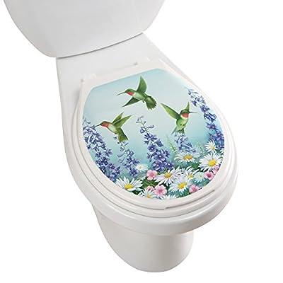 Hummingbird Garden Decorative Applique Toilet Lid Tattoo Decal, Oval