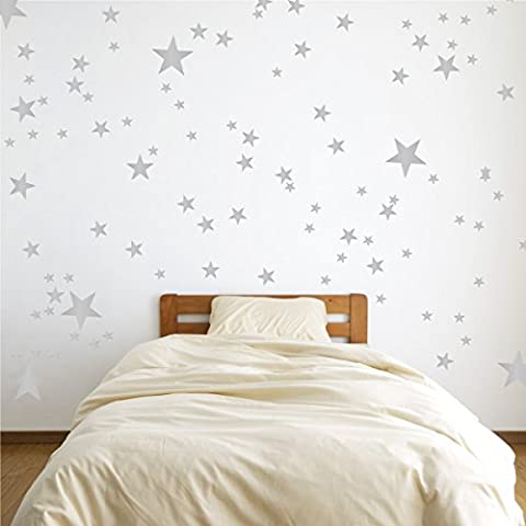 Vinyl Star Wall Decal Stickers for Home Wall Decor Night Sky Removable Graphic Transfers for Nursery or Kids Room (Silver, 48x55 inches)