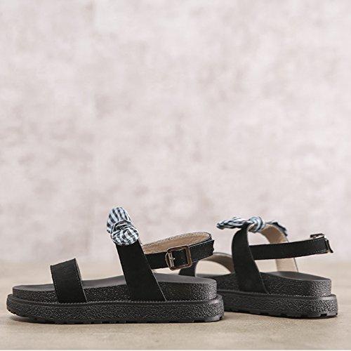 Cybling Dames Comfort Open Teen Enkelband Platform Wedge Strik Sandalen Groen