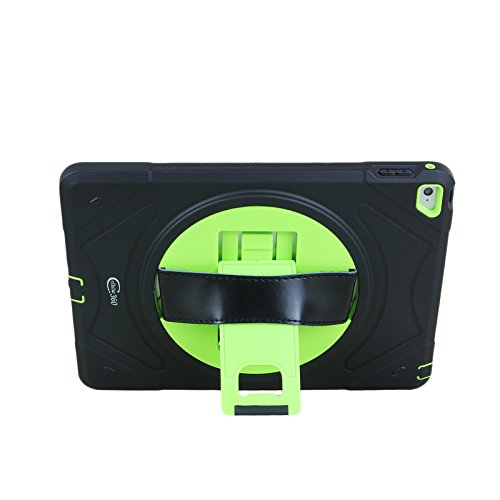 Cellular360 Shockproof Case for Apple iPad Air 2 , Protective and Handy Case with 360 Degrees Rotatable Kickstand and Leather Handle (Black/Green) by Cellular360 (Image #4)
