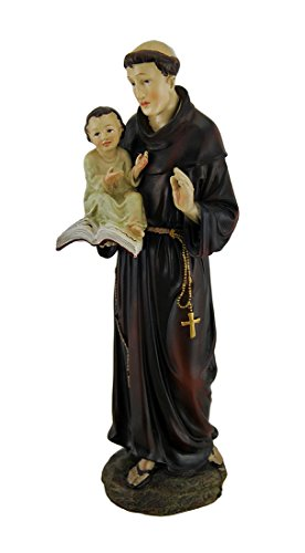 Resin Statues Hand Painted St. Anthony Of Padua Statue 4 X 11.75 X 3.5 Inches Brown