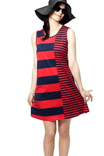 XL 95 Kleid Nanso Baumwolle XXL L lang Strandkleid Navy S Sommerkleid M cm Gr XS rot Modal BqgPf