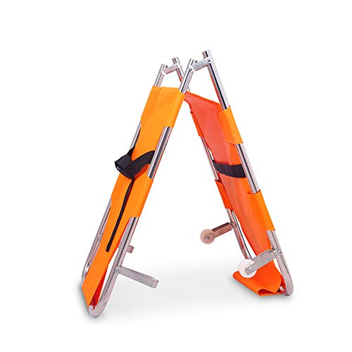 XRX Emergency Rescue Flat Foldaway Portable Stretcher with Wheels for Hospital,Clinic,Home,Sports venues,Ambulance Weight Capacity 350 lb (Orange)