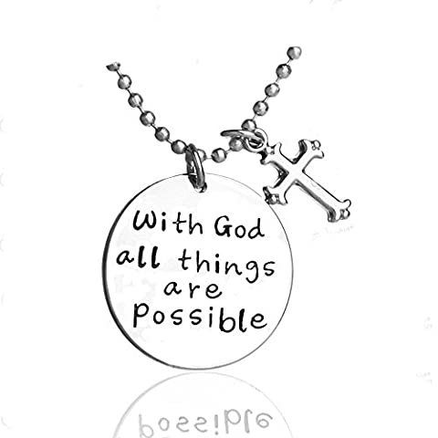Inspirational Necklace Cross Pendant For Woman Teen Girls Inscribed God Jewelry Prime Gift (Girls Cross Necklace White Gold)
