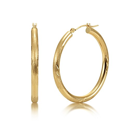 Satin Diamond Cut 14k Yellow Gold 3mm x 35mm Click Top Tube Hoop Earrings - By Kezef Creations