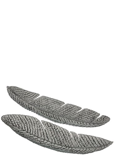 (Sullivans Leaf Shaped Long Bowls Metal Decorative Dishes, 24 x 7 and 29 x 7.5 Inches, Gray, 2)
