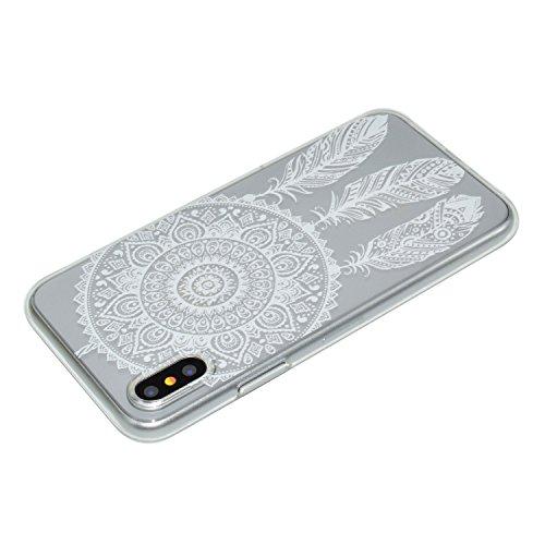 Coque iPhone X blanc Dreamcatcher Premium Gel TPU Souple Silicone Transparent Clair Bumper Protection Housse Arrière Étui Pour Apple iPhone X / iPhone 10 (2017) 5.8 Pouce + Deux cadeau