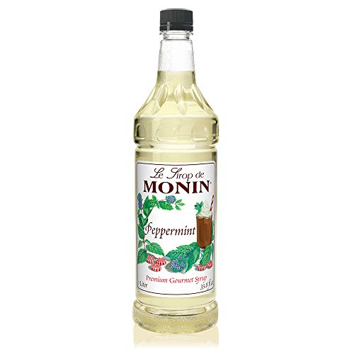 (Monin - Peppermint Syrup, Cool Tingle of Candy Cane, Natural Flavors, Great for Cocoas, Mochas, Smoothies, and Sodas, Vegan, Non-GMO, Gluten-Free (1 Liter))