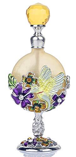 Vintage Heart Shape Glass Bottle Light Yellow Birds Flower Pattern Decorative Handmade Jeweled Perfume Bottles for Living Room