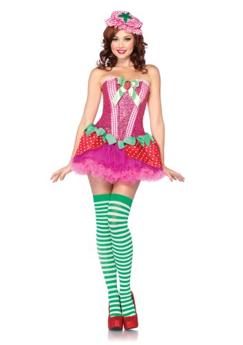 Cute Corset Costumes (Leg Avenue Costumes 3Pc.Strawberry Sweetie Sequin Corset Strawberry Skirt and Bonnet, Pink, Small)