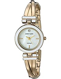 Womens AK/2622WTGB Diamond-Accented Gold-Tone Crossover Bangle Watch
