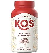 KOS Organic Red Reishi Mushroom Capsules - Pure Ganoderma Lucidum (10:1 Reishi Extract) - Immune ...