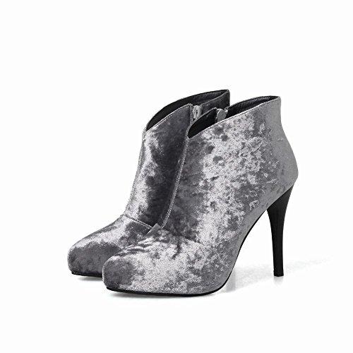 Latasa Kvinna Konstgjord Mocka Hög Klack Fotled Klänning Boots Grå