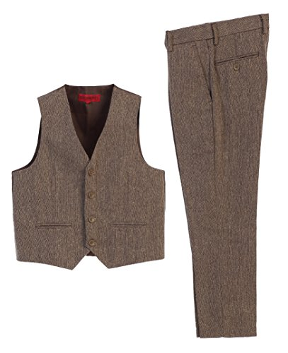 (Gioberti Boy's 2 Piece Tweed Plaid Vest and Pants Set, Barleycorn Brown, Size 12)