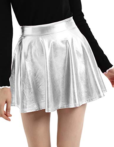 Kate Kasin Women's Shiny Metallic Pleated Short Skirt Silver,Small -