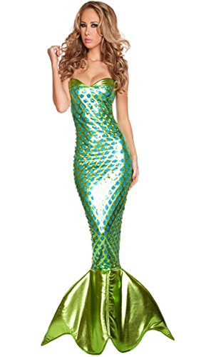 LOSTSS Women's Sexy Luxury Mermaid Dresses Halloween Prom Party Cosplay Mermaid Dress (Plus Size Mermaid Costumes)
