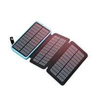 Hiluckey Portable Solar Charger 24000mAh Solar Power Bank Waterproof External Backup Battery with 3 Solar Panels Compatible with Smartphones Tablets