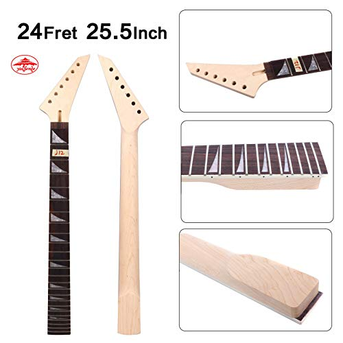 Yinfente Electric Guitar Neck Replacement 24 Fret 25.5 Inch Maple Rosewood wood Fretboard (maple-rosewood)