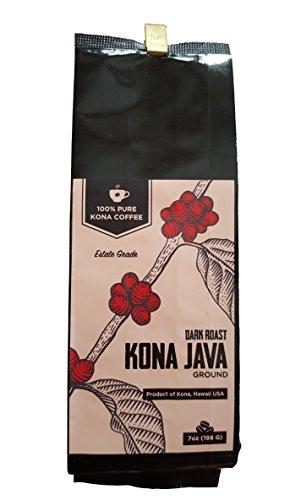 7 Bean Blend - Kona Coffee by Kona Java - 100% Pure Fancy Hawaiian Beans, Not a Blend - Kona Ground - Gourmet Dark Roast 7 oz.