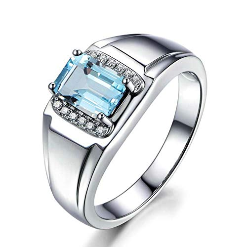 MoAndy Rings for Her Sterling Silver Rings Square Blue Topaz Women's Rings Size 4.5