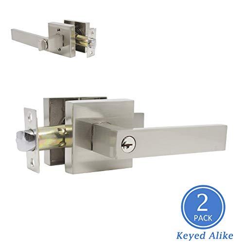Universal Straight Door Lock Levers, Satin Nickel Finish Entry Door Handle Set Keyed Alike Door Lockset, Combo Pack of 2