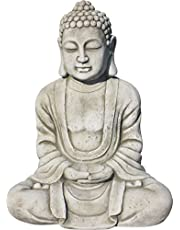 AnaParra Estatua Buda Tissa delÉxito Figura Decorativa para Jardín o Exterior Hecho de Piedra Artificial | Figura Buda 57cm, Color Natural Musgo