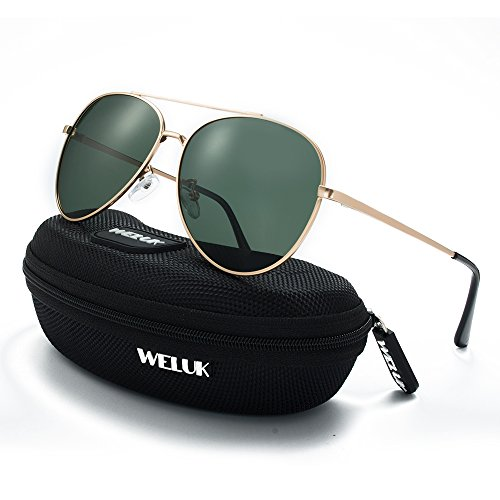 WELUK Classic Aviator Sunglasses Men Women Metal Driving Pilot Fishing Glasses (Gold & Dark Green, - Sunglasses Insure Your