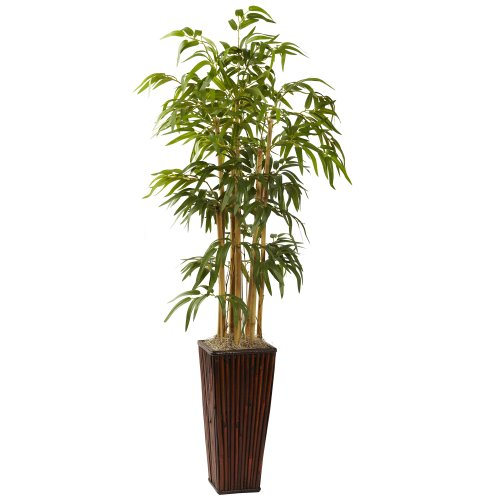 Nearly Natural 6737 4-Feet Bamboo with Decorative Planter, Green (Round Vases Bamboo)