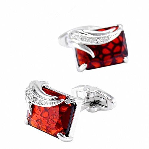 Color Stones Cufflinks - WaMLFac Unique Design Stylish Modern Luxury Crystal Blue Stone Cufflinks for Shirt Wedding Business (Red Wine Stone)